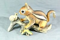 Masterpiece By Homco Chipmunk On A Log With Snail Porcelain Figurine VINTAGE