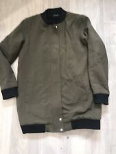 NEW LOOK long Bomber Style Coat Green Size 10