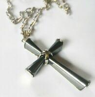 collier pendentif rétro couleur argent relief grande croix en hématite COL745