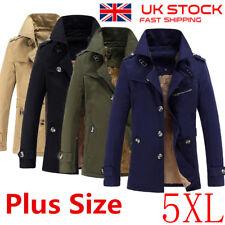 UK Sell Mens Winter Trench Coat Warm Thicken Fleece Jacket Peacoat Long Overcoat