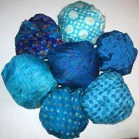 LOT PURE SILK Vintage Sari REMNANT Fabric 7 Pcs 1 ft Blue Aqua #,AELW