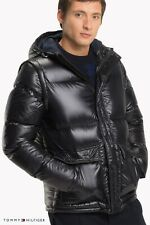 Tommy Hilfiger Mens Zip Black Hooded Puffer Down Jacket...