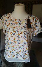 Brandneu QED London Bluse Tunika Top weiß mit vögel  Size 10 Gr.38