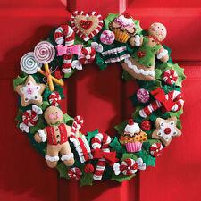 """Cookies & Candy Wreath Felt Applique Kit-15"""" Round"""