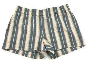 VINTAGE J Crew Linen Boyfriend Shorts Women's Size 4 Mid Rise Flat Front Striped