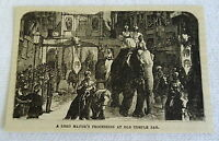 small 1882 magazine engraving~ LORD MAYOR'S PROCESSION, OLD TEMPLE BAR elephants