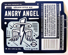 Big Boss Brewing ANGRY ANGEL beer label NC 12oz Blue Foil