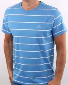 Gant Men's Breton Stripe  T-shirt Pacific Blue - Cotton Short Sleeve Tee