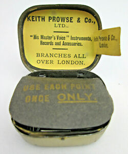 Vintage Gramophone Needle Tin Keith Prowse London Victor Victrola w Paper Label