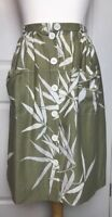 Vintage C&A Skirt Fit Size 8 Button Up Front Pockets Leaf Print Made In UK