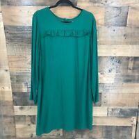 Old Navy Women's Emerald Green Long Sleeve Ruffle Detail Knee Length Dress Sz XL