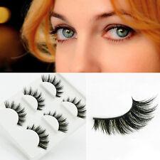3Pairs 3D Black Natural Long Thick Cross False Eyelashes Eye Lashes Fashion HOT