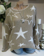 Peluche Pull Étoiles en Tricot Couleur Sable blanc 38 40 42 extra-large BOHO