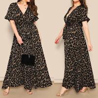 New Womens Sexy Plus Size Leopard Print Party Dresses Short Sleeve Bandage Dress