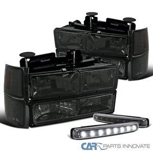 For 94-98 Chevy C10 C/K 1500 Smoke Headlights+Bumper Corner Lamp+8-LED Fog Lamps