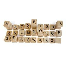 100 Pcs Wooden Alphabet Scrabble Tiles Black Letters Numbers For Crafts Wood