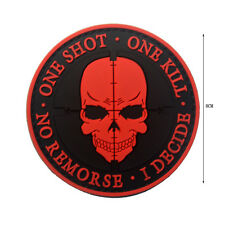 SNIPER Punisher ONE SHOT ONE KILL Death Skull DEVGRU SWAT Morale 3D PVC Patch