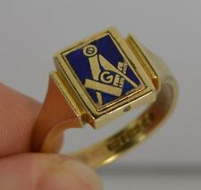 Vintage Masonic 9ct Gold & Enamel Design Mens Swivel Signet Ring f0114