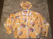 VIntage 90s Tail Windbreaker Aztec Abstract Crazy w/Matching Hat Women's Size S