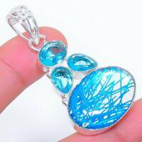 "Blue Rutile Quartz, Blue Topaz Ethnic Jewelryr Jewelry Pendant 2.0""  AK-3265"