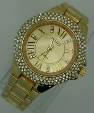 NEW FASHION ICED OUT GOLD TONE CLUBBING LADIES  BRACELET WATCH.