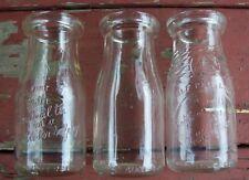 3 Vintage Half Pint Embossed Glass Milk Bottles 1945 1948 1950