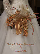 Bride Silk Wedding Bouquet Copper Ivory Champagne 15 Piece Custom Design