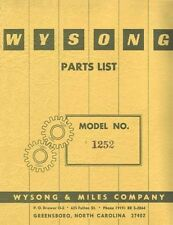 Wysong Model No. 1252 Power Squaring Shear Parts Manual
