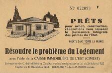 CARTE POSTALE PUB RESOUDRE LE PROBLEME DE LOGEMENT CAISSE IMMOBILIERE DE L'EST