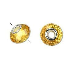 Gold Faceted Glass 15mm Silver Plated Large 4.5mm Hole European Charm Beads 2pc