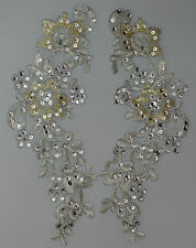 Extra Large Handmade Venise Lace Sequins Applique Trim Motif  M Silver/ Gold #12