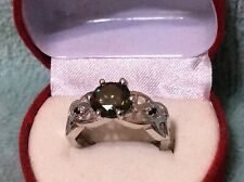 Engagement ring 1.78ct Moissanite round dark green +2 real Black Diamond sz 7