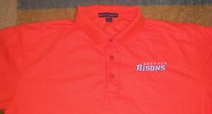 Rare STITCHED Authentic BUFFALO BISONS Orange POLO/Golf SHIRT L NY Mets jersey