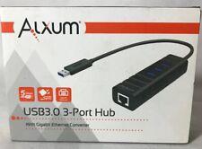 Alxum Usb 3.0 3-port Hub With Gigabit Ethernet Converter