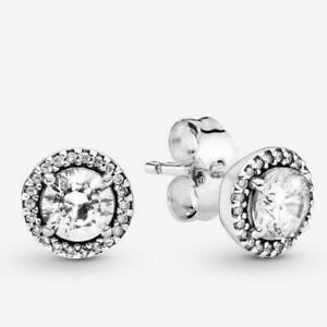 PANDORA Timeless Round Sparkle Stud Earrings Elegance  #296272CZ