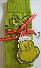 The Grinch Christmas Socks With Gift Tag Wrapped In Red Tissue Paper Size 6-8