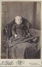 CABINET CARD PORTRAIT OF CHUBBY BABY SEATED ON ORNATE CHAIR -PITTSBURGH, PA
