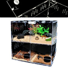 New listing 4 Grids Reptile Cage Transparent Climbing Pet Box Scorpion Tarantula Display New