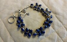 Himalayan Gems Sterling and Lapis Flower Toggle Bracelet