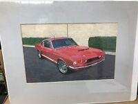 VINTAGE ORIGINAL FORD SHELBY GT-350 MUSTANG WATERCOLOR PAINTING