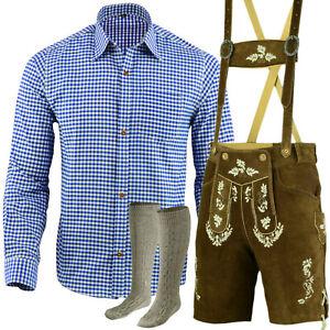 Trachtenset Trachten Set Herren Trachtenlederhose Kurz Blau Hemd Socken LE27HSO