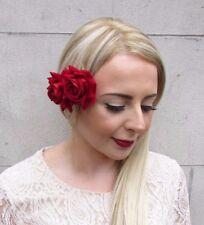 Double Red Rose Flower Hair Clip Fascinator 1950s Rockabilly Vintage Bridal 3948