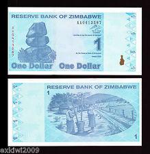 Zimbabwe 2009 1 Dollar P-92  AA Prefix Mint UNC Uncirculated Banknotes