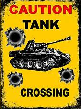 Vintage Tank Crossing  Retro Style Sign  Army Tank  sign WW2 Sign