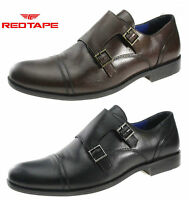 Mens Red Tape Grange Black Leather Double Buckle Monk Strap Formal Wedding Shoes