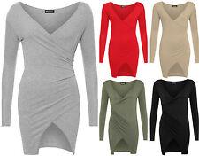 Womens Wrapover Mini Dress Ladies Long Sleeve V Neck Bodycon Plain Stretch 6-14