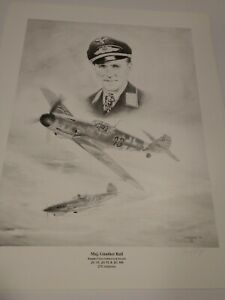 WWII German Ace  with 275 victories, Gunther Rall. Print by Lonnie Ortega