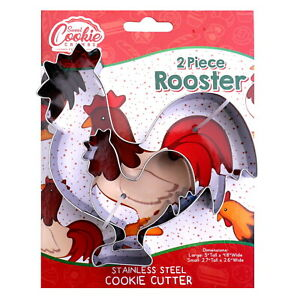 Rooster Cookie Cutter Set, 2 Piece, Stainless Steel