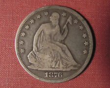 1876-CC SEATED LIBERTY HALF DOLLAR - CARSON CITY MINT, LIGHT OBVERSE MARKS