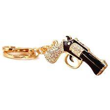 Rhinestone revolver charm keychain,crystal pistol pendant key ring,black color